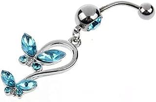 Silver Rhinestone Butterfly Navel Bar Belly Piercing Body Jewelry Blue Surgical Steel Navel Ring bikini beach accessories