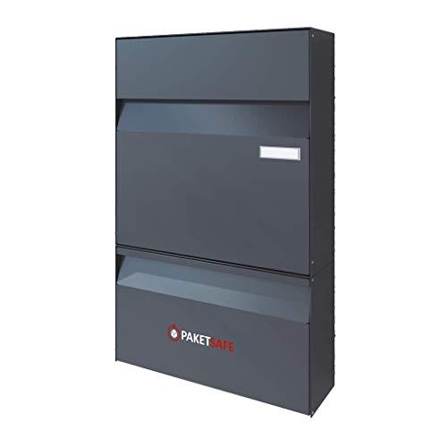 Briefkasten mit flexiblem Paketkasten von Paketsafe - Paketbriefkasten - schnittsicher - platzsparend - für Pakete bis 70x40x30 (Anthrazit (RAL7016))