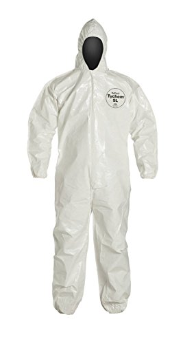 DuPont Tychem SL127B SL Disposable Coverall with Hood & Elastic Cuffs, White (Large)