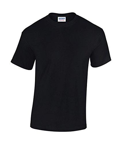 5 Stück GILDAN Heavy Cotton T-Shirt Herren Shirt S - 3XL Schwarz Weiß (M, Schwarz)