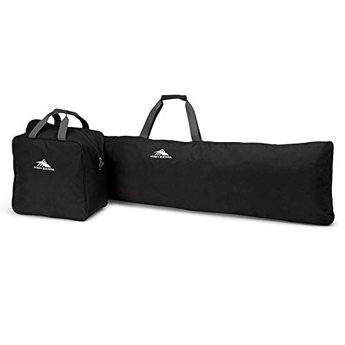 High Sierra Padded Snowboard Sleeve and Boot Bag Combo with Water Resistant Coating - Holds Up to 165 cm. of Single Snowboard and a Pair of Adult Size 13 Boots, Black