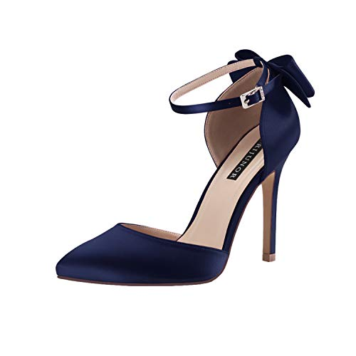 ERIJUNOR E1966A Women High Heel Bow Ankle Strap Evening Party Dance Wedding Satin Shoes Navy Size 8