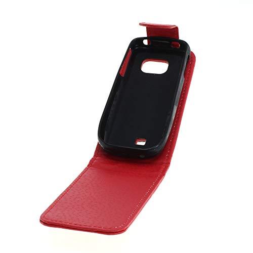 Mobilfunk Krause - Flip Hülle Etui Handytasche Tasche Hülle für Nokia C2-01 (Rot)