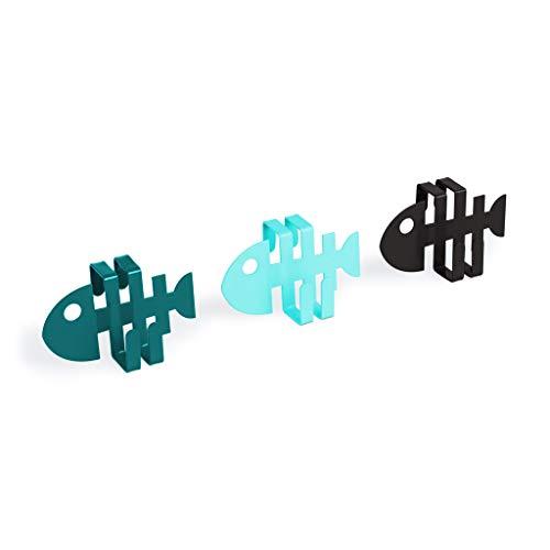 Balvi Colgador cajón Fish Set de 3 colgadores En Forma de pez Ideal para cajón de Cocina Metal