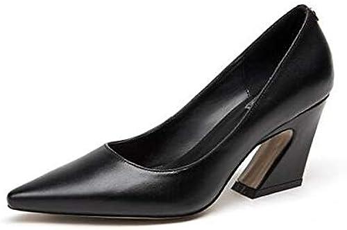 ZHZNVX zapatos de mujer Nappa Leather Spring Comfort Tacones Chunky Heel negro Beige