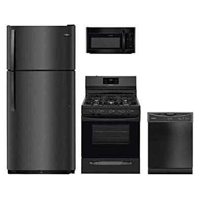 "Frigidaire 4-Piece Black Kitchen Package FFTR1821TB 30"""" Top Freezer Refrigerator FFGF3054TB 30"""" Gas Freestanding Range FFMV1645TB 30"""" Over The Range Microwave and FFBD2406NB 24"""" Built in Dishwasher"