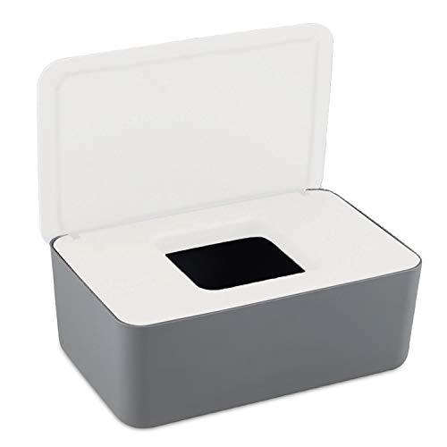 Feuchttücher-Box Baby Feuchttücherbox,Aufbewahrungsbox für Feuchttücher, Baby Tücher Fall Toilettenpapier Box Taschentuchhalter Kunststoff Feuchttücher Spender Tücherbox Serviettenbox (White+grey)