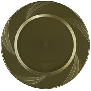 """Maryland Plastics 7.75"""" Gold Newbury Plastic Heavy Duty Disposable Hors d'Oeuvres Plate 15 Count"""