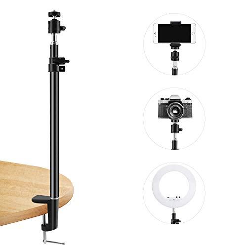 Jooheli Tisch Lichtstativ Klemmstativ 45-75 cm einstellbar Licht Einbeinstativ mit 1/4-Zoll Schraube kompatibel kompatibel mit Selfie Ring, LED-Licht für Fotografie Streaming Video Aufnahme