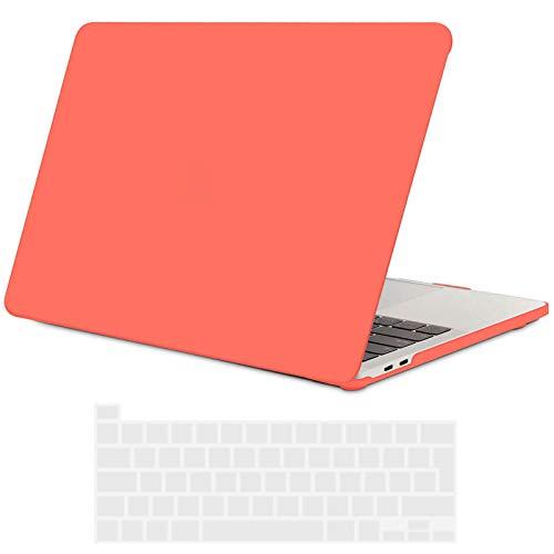TECOOL Custodia MacBook PRO 13 Pollici 2020 (Modello: A2338 M1 / A2289 / A2251), Plastica Cover Case Rigida e Copritastiera in Silicone per MacBook PRO 13.3 con Touch Bar - Arancio Corallo