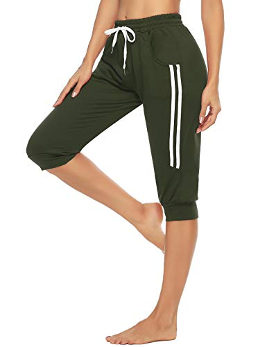 Doaraha 3/4 Pantalones Piratas Mujer Casual Capri Deporte Pantalon con Cordón para Fitness,Running,Yoga,Danza(Tallas Grandes)