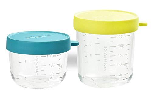 BÉABA - Set di 2 Vasetti in Vetro di Conservazione delle Pappe, per Neonato e Bambini, Scala Graduata per la Misurazione, Termoresistente, 150 ml + 250 ml, Neon/Blu