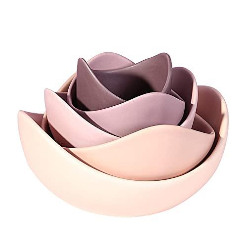 GYAM Placas de cerámica, Porcelana, Rosa/de Color Verde, 17.5x16.5x8 cm / 6.88x6.49x3.14 Pulgadas (5 Piezas),Rosado