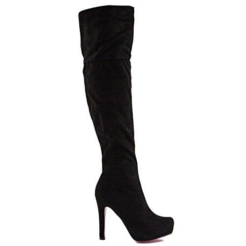 Toocool - Botas de Material Sintético para Mujer Negro Size: 37