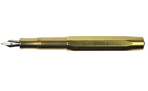 Kaweco Füllfederhalter Brass Sport I Premium Füllfederhalter Luxus für Tintenpatronen mit hochwertiger Stahlfeder I Kaweco Sport Füller aus Messing 13,5 cm Federbreite: M (Medium)