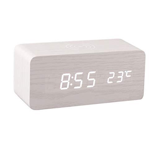 Fenteer Despertador LED Mesa de Reloj de Madera Control de Voz USB/AAA alimentados Relojes de Escritorio Digital decoración del hogar - Blanco