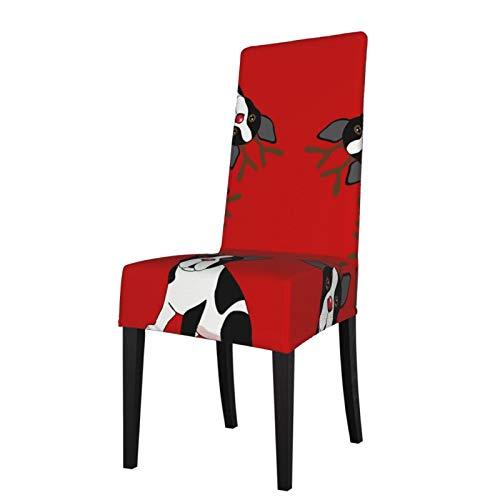 KAZOGU Juego de 2 fundas protectoras para sillas de comedor Boston Terrier renos de Navidad elásticas para decoración de boda
