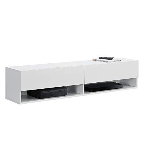 [en.casa] Armario de Pared Halmstad Mueble de TV de Pared 140 x 31 x 30 cm Mesa de Centro Flotante con Compartimentos y 2 Puertas Consola de Pared Blanco