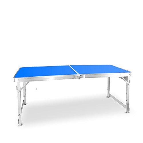 Zfggd Einfache Klapptisch, Outdoor-Camping Tisch Schreiben Computer Schreibtisch, Stall Tisch Esstisch, Portable Aluminium Tischplatte Faserplatte Desktop, 150 cm * 60 cm * 55-70 cm (Farbe : Blau)