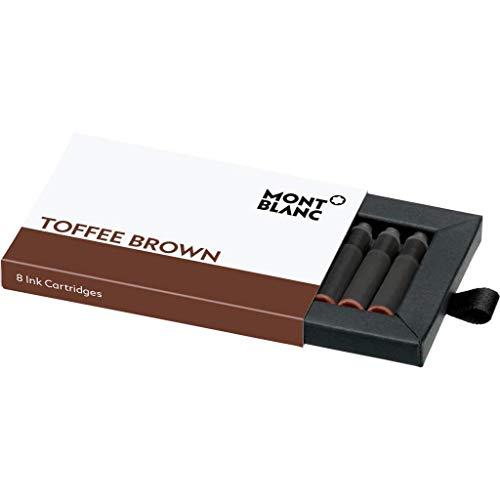 Montblanc Tintenpatronen Toffee Brown 105189 – Hochwertige Tinte für Füllfederhalter Karamell Braun – 1 Schachtel à 8 Füllerpatronen