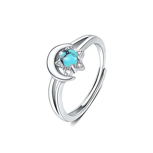 Anillo Turquesa de plata de ley 925 para mujer, Anillo luna y estrella ajustable con Turquesa para mujeres y niñas, cumpleaños, compromiso, aniversario, anillos de promesa