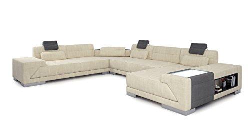 Bullhoff by Giovanni Capellini Wohnlandschaft XXL Sofa Couch Stoffsofa modern Design Ecksofa U-Form mit LED-Licht Beleuchtung Modena