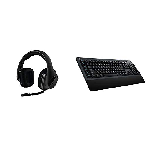 Logitech G533 Wireless Gaming Headset – DTS 7.1 Surround Sound – Pro-G Audio Drivers & G613 Lightspeed Wireless Mechanical Gaming Keyboard, Multihost 2.4 GHz + Blutooth Connectivity - Black
