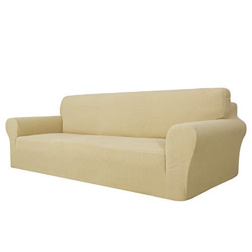 MAXIJIN Funda de sofá superelástica para sofá de 4 plazas, extragrande, universal, fundas de sofá jacquard y elastano, protector de muebles de perro (4 plazas, beige)