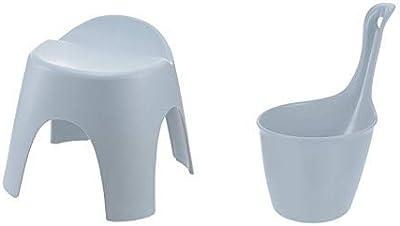 【セット買い】リッチェル アライス お風呂3点セット_ブルー_座面高さ30cm風呂椅子・湯おけ・手おけ_背もたれ付_乾きやすい_日本製