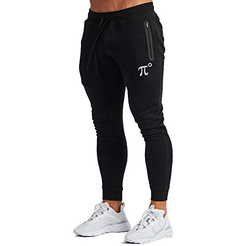 PIDOGYM Men's Slim Jogger Pants,Tapered Sweatpants for Training, Running,Workout with Elastic Bottom and Zipper Pockets,Black,Medium