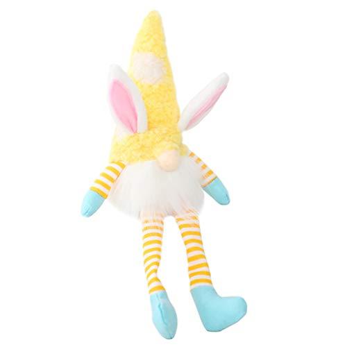 ABOOFAN Conejo de Pascua Decoración de Los Gnomos de Peluche con Luz Hecha a Mano de Felpa Escandinavo Sueco Tomte Ilumina Elfo para Regalos de Pascua Decoración de Mesa de Vacaciones de