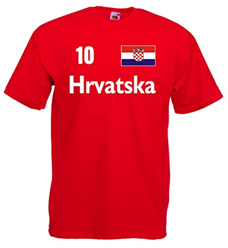 Kroatien Herren T-Shirt Hrvatska Trikot Nr.10-rot-M