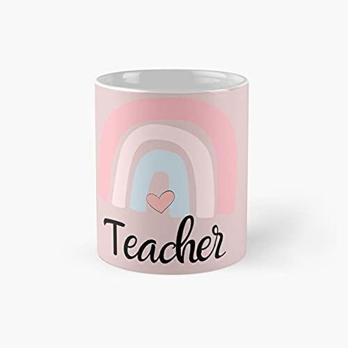Camicie per insegnanti per le donne Vintage Boho Rainbow Shirt Tshirt Kindergarter Classic Mug Migliore Regalo Divertente Tazze Caffè 311,8 g