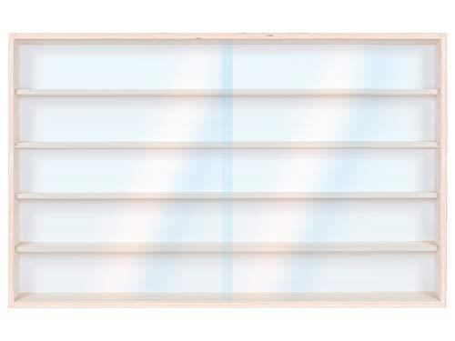 Alsino Vitrine (V115.5) voor modelbouw spoor H0 en N van berkenhout, met 2 glazen ruiten van plexiglas afmetingen 115 x 49 x 8,5 cm, vitrine, kijkkast, presentatie, verzamelen