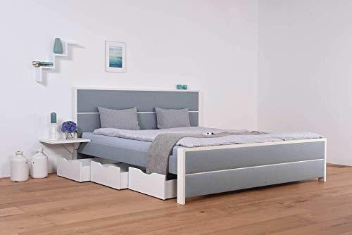 SuMa Wasserbett mit Schubkästen + Bettrahmen Duetto + Nachttischablage + Laken (200 x 210 cm, Starke Beruhigung)