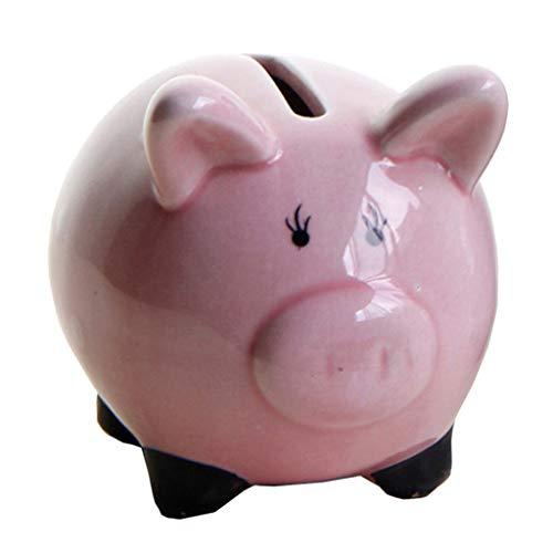 FLAMEER Kinder Spardose Sparschwein Sparbüchse aus Keramik, Tier Form - Rosa Schwein