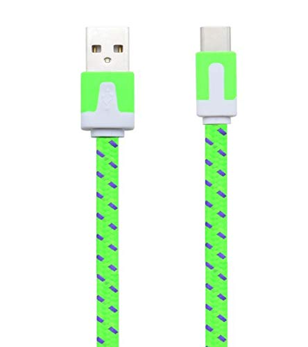 Noodle kabel type C voor Samsung Galaxy Tab S5e, oplader Android USB 1, 5 m, gevlochten stekker, groen
