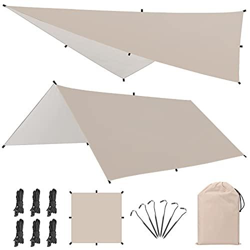 キャンプ テント Linkax 防水タープ UVカット 天幕シェード タープ テント ポータブル アウトドア 収納袋付き 多サイズ 2-6人用