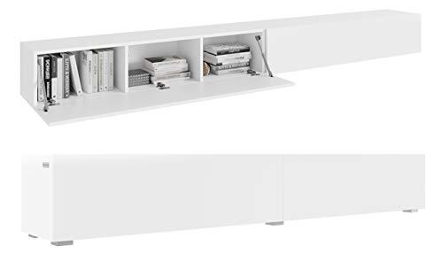PLATAN ROOM Fernsehschrank TV-Lowboard 280 In Weiß Hängend Oder Stehend Matt (280 (2x140) x 30 x 32, Weiß Matt/Weiß Matt)