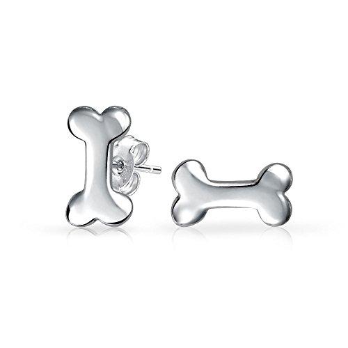 Pequeño Minimalista Cachorro Mascota Amante De Animales Hueso De Perro Pendiente De Boton Para Mujer Adolescente 925