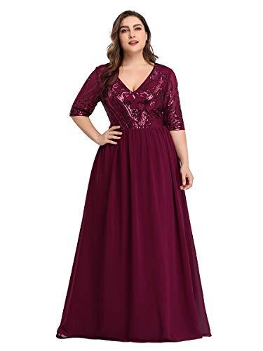 Ever-Pretty Damen Abendkleid A-Linie V Ausschnitt Pailletten Chiffon 3/4 Ärmel große Größe Burgund 56