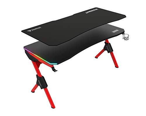 GAMDIAS Daedalus M1 Gaming Desk 59 inch, RGB LED Lights, Full Waterproof Mouse Mat, Cable Management Design with Headset & Cup Holder, Black and Red (Daedalus M1 BR+C)