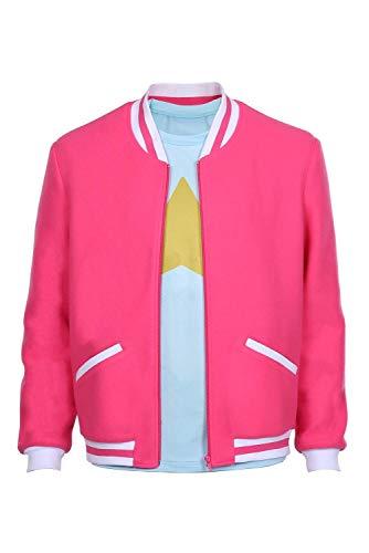 Mens Steven Pink Jacket Hoodie Varsity Baseball Cosplay Casual Coat Costume (XXXL, Zip/Jacket + Shirt)