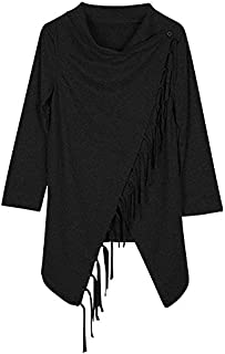 Black Polyester Shirt Neck Cardigan & Poncho Top For Women
