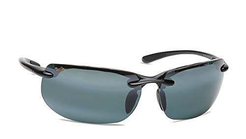 Maui Jim unisex adult Banyans Sunglasses, Gloss Black/Neutral Grey Polarized, One Size US