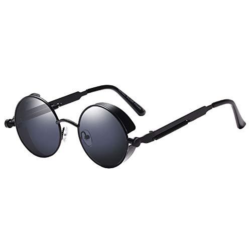 Vasko - Gafas de sol redondas de metal para hombre y mujer