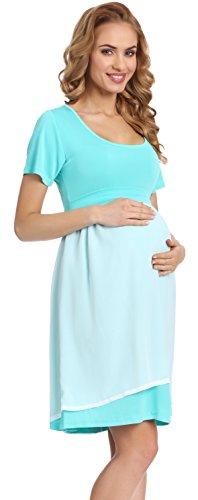 Be Mammy Elegante Vestido de Fiesta Premamá Ropa Maternidad Mujer 91R3N1 (Menta, S)