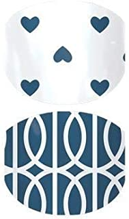 Jamberry Nail Wraps - Mod Love - Full Sheet - Juniors Kids Size - Blue & White Hearts, Geometric…