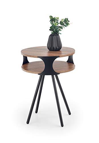 Luena - Mesa baja, mesa de salón, mesa de café, madera de roble Sonoma, 45 × 45 × 60 cm, redonda, estructura de acero revestido de polvo