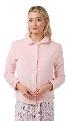 Marsylka Dames Zacht Fleece Bed Jas ~ Warm Winter Jas Nachtkleding ~ Button Front ~ Roze ~ Blauw of Paars